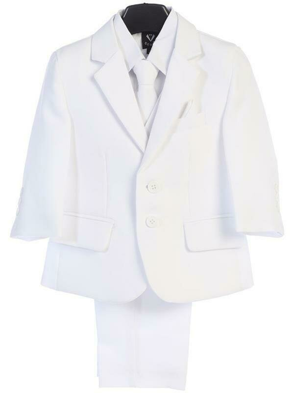White boy's two button suit with jacket, vest, shirt, tie, pants