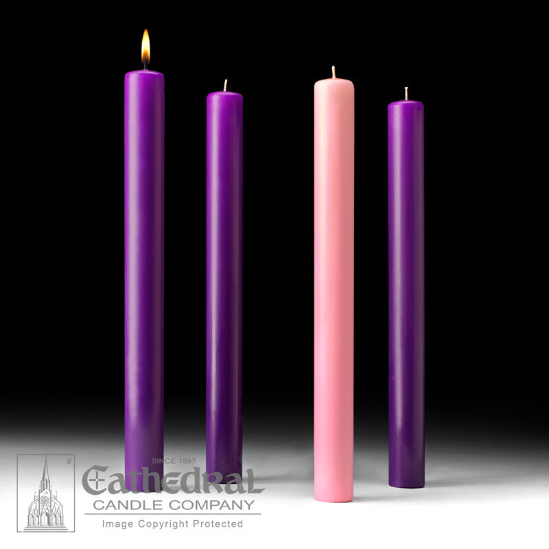 "Church Advent Candle Set- 51% Beeswax, 1.5"" x 16"""
