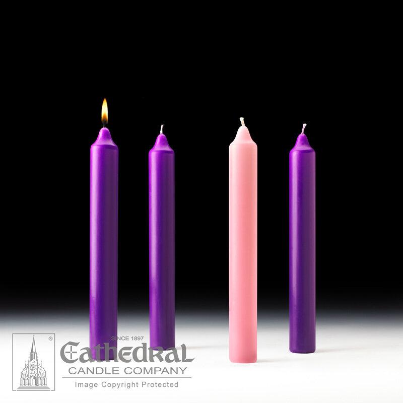 "Church Advent Candle Set- Stearine, 1.5"" x 12"""