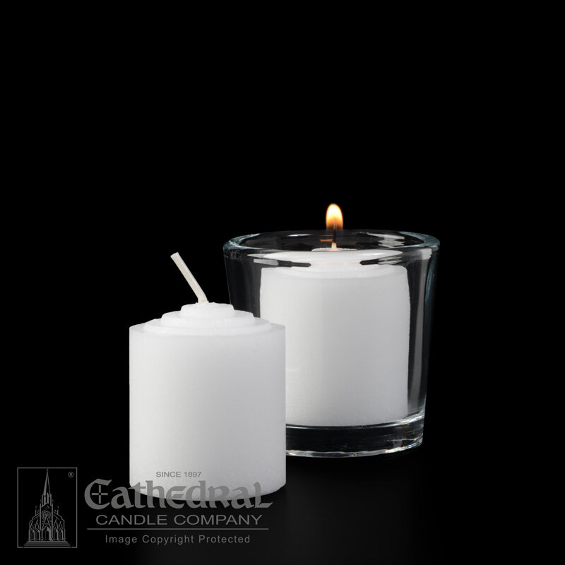 10-Hour Straight Side Votives- Box of 72 Candles