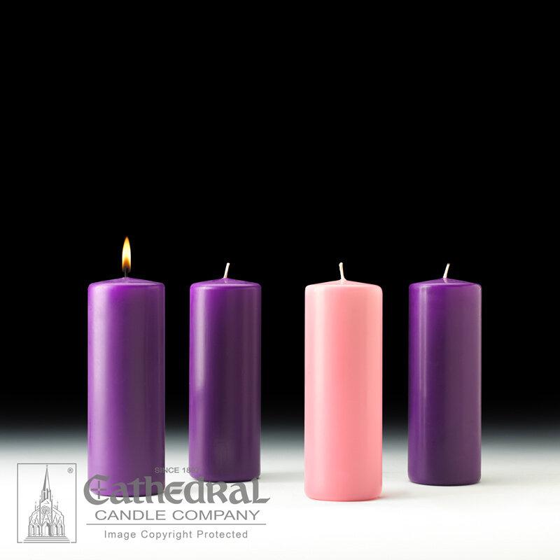 "Church Advent Candle Set- Stearine Pillar, 3"" x 8"""