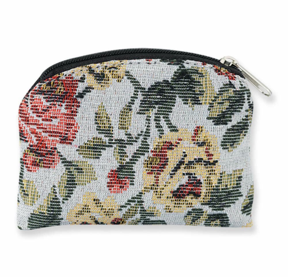 Rosary Pouch- Rose Flower Pattern Brocade