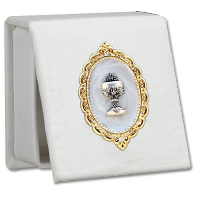 First Holy Communion White Leatherette Keepsake Box
