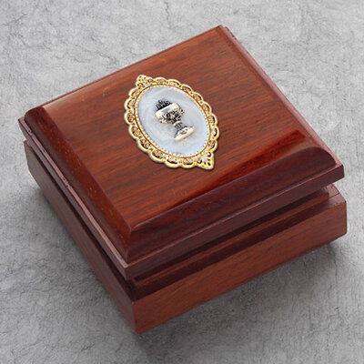 Hardwood Rosary Keepsake Box with Mother of Pearl and Chalice Medallion