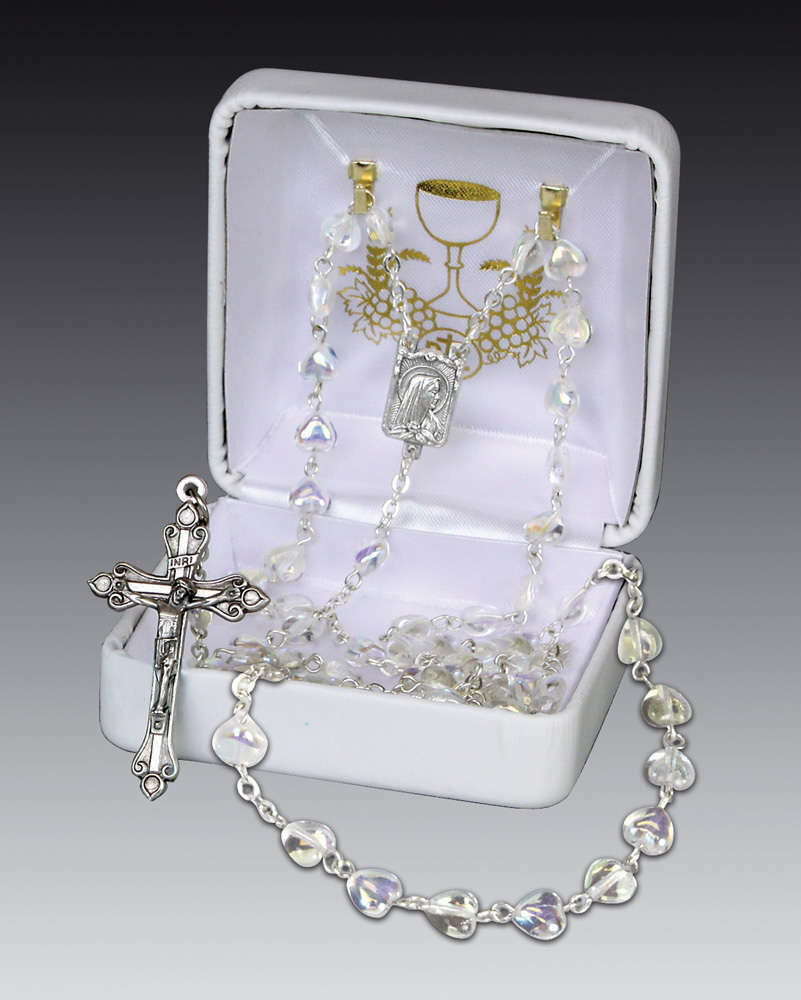 First Communon Rosary- Heart Shaped Crystal