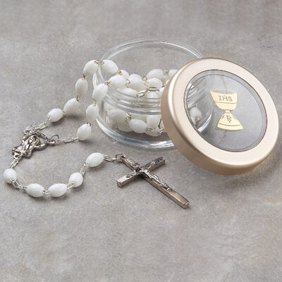 White Rosary and Chalice Box