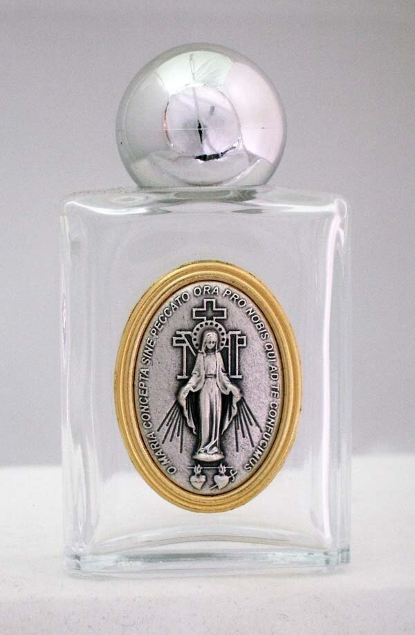 Miraculous Medal Holy Water Bottle, Square, 1.75 x 3.25""