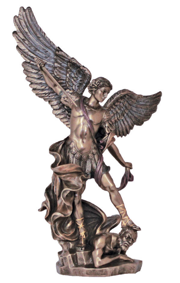 "14.5"" St. Michael Statue, Cold-Cast Bronze, Lightly Hand-Painted"