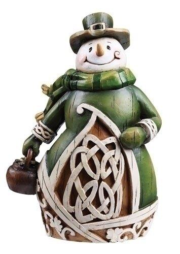 "6"" Woodcut Irish Snowman"