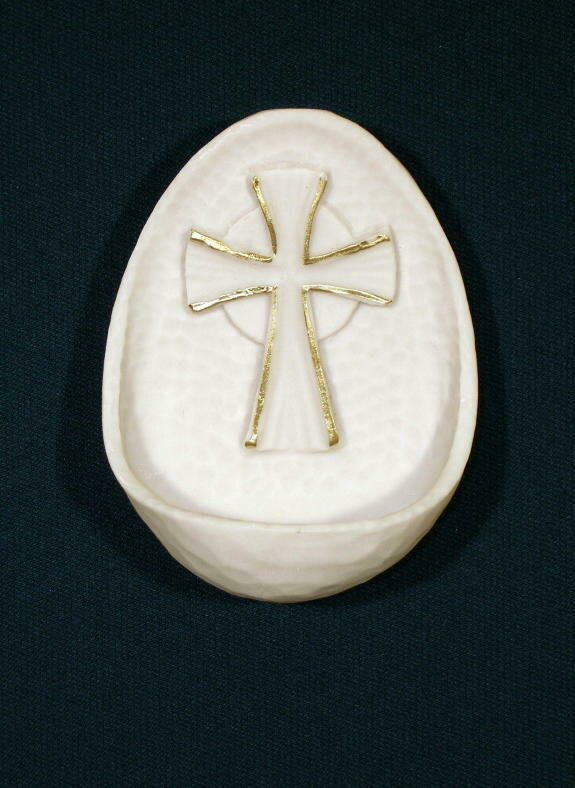 "Cross Font, White Alabaster, 3.75"""