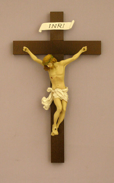 """Crucifix, Baroque Style, Hand-Painted Alabaster Corpus- 14"""""""