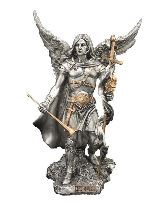 "9"" Archangel Gabriel, Pewter Style Finish, Golden Highlights"