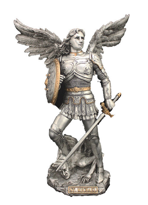 """9"""" Archangel Michael, Pewter Style Finish, Golden Highlights"""