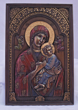 Our Lady of Perpetual Help plaque, hand-painted cold cast bronze, 6 x 9 inches