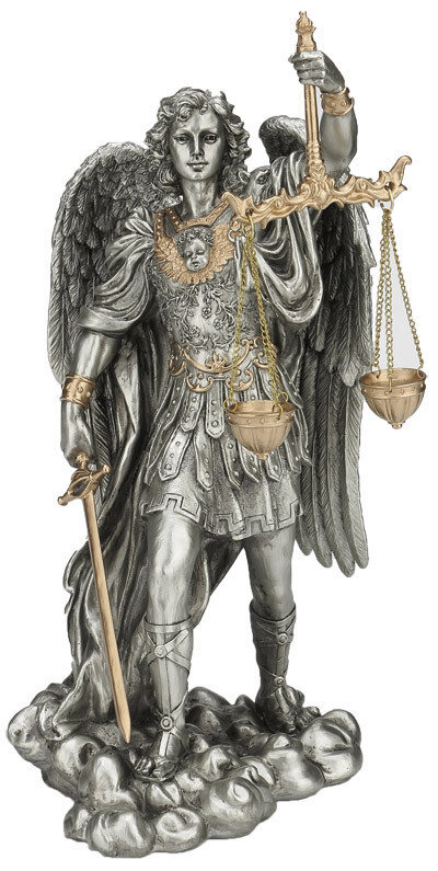 """11"""" St. Michael-Scales/Justice, Pewter Style Finish, Golden Highlights"""