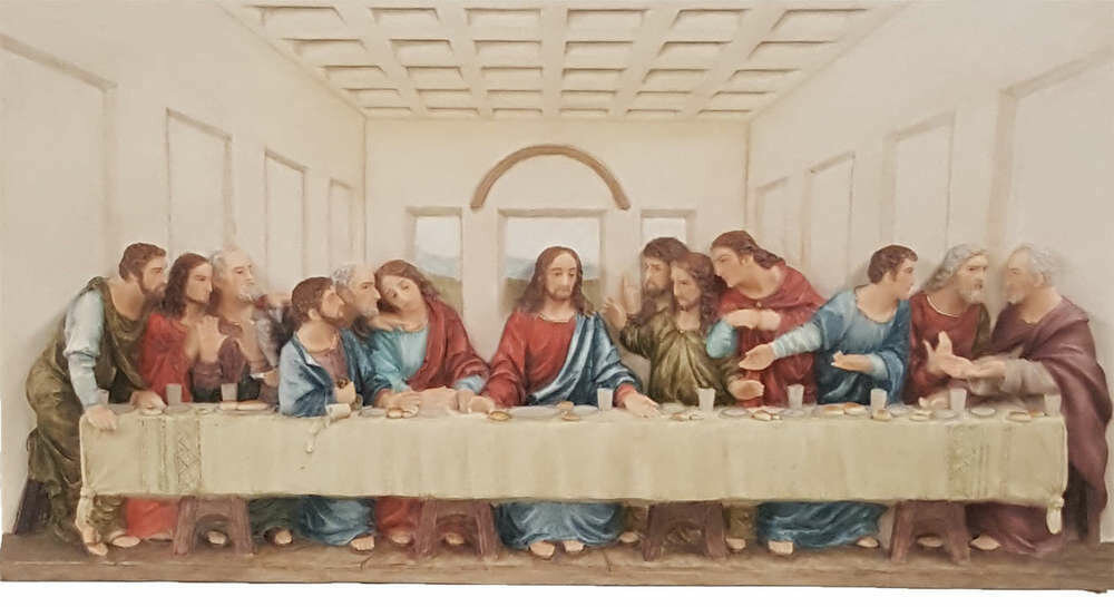 Last Supper Plaque, Hand-Painted Color, 14x7""