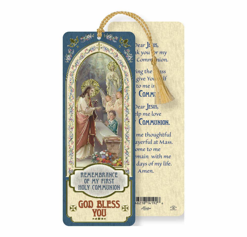 Laminated Tasseled Bookmark- Communion Boy
