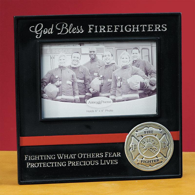 """God Bless Firefighters"" Photo Frame"