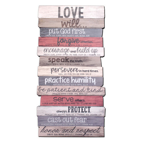 Love Stacked Wood Plaque