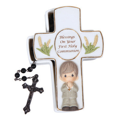 Blessings On Your First Holy Communion, Boy Rosary Box with Black Rosary