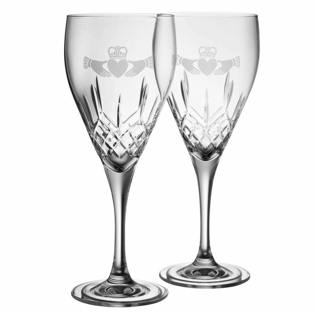 Galway Irish Crystal Claddagh Red Wine Pair