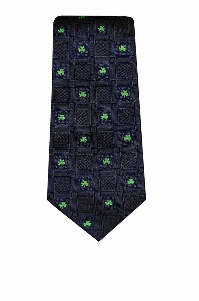 Silk Tie- Navy Shamrock Design