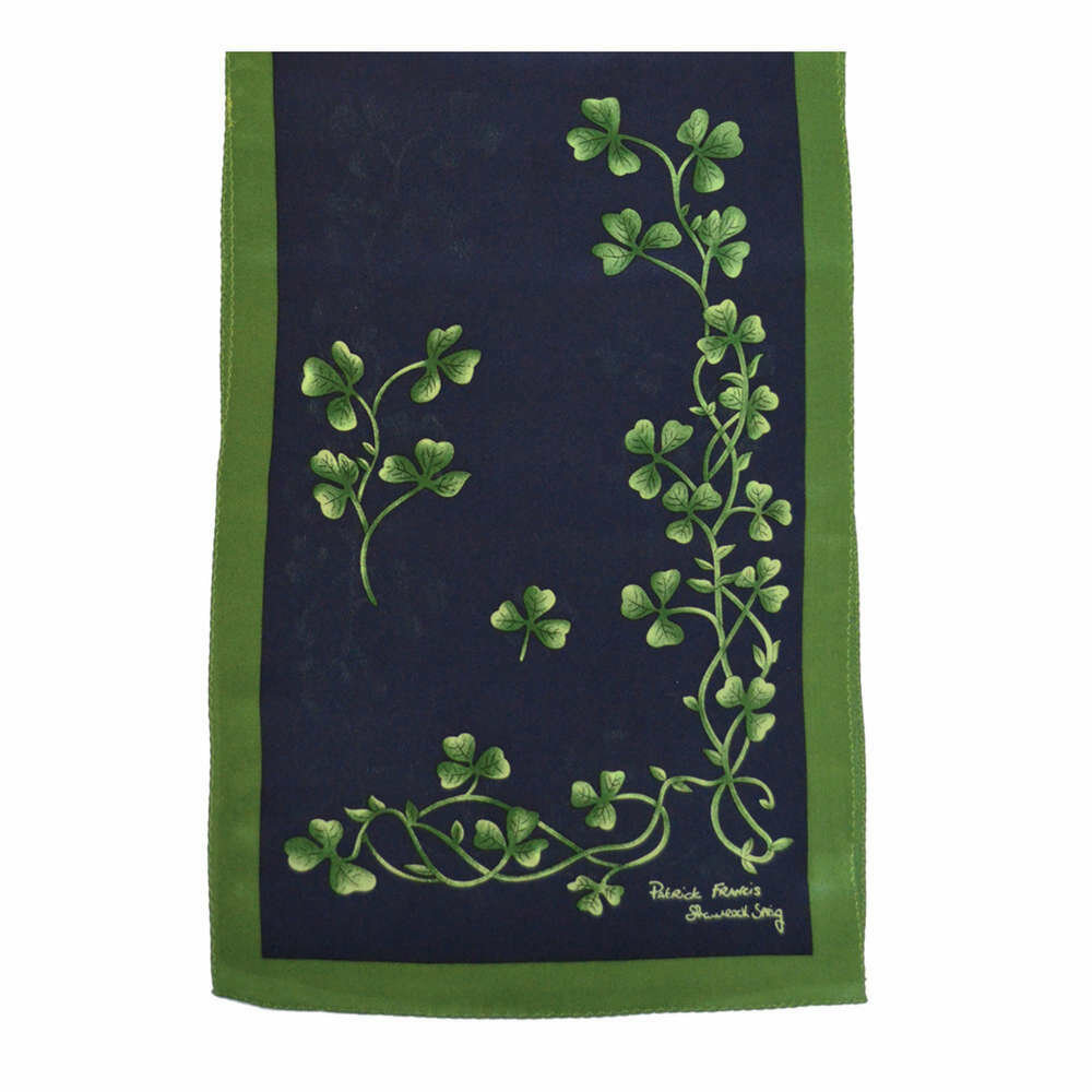Silk Scarf- Navy/Green Shamrock Sprig Design