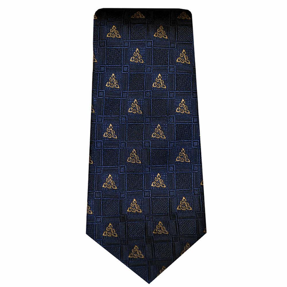 Silk Tie- Navy Celtic Knot Design