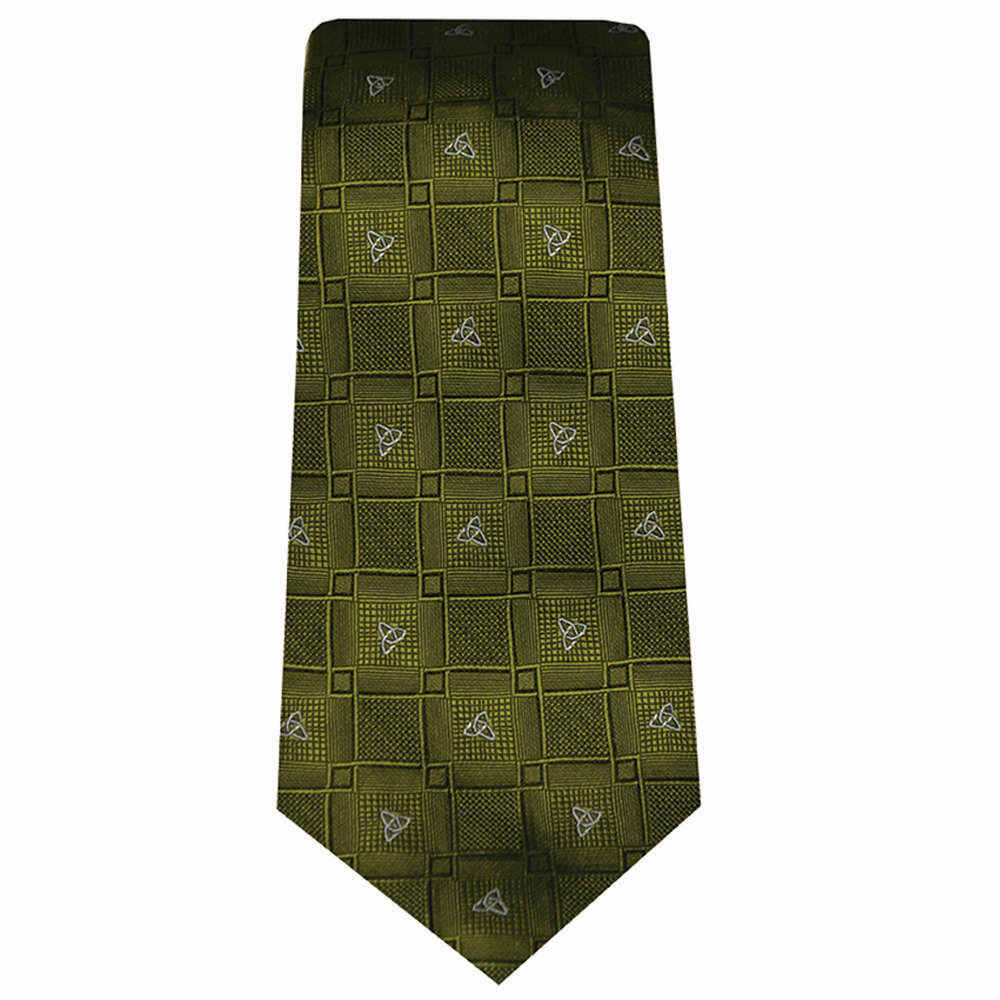 Silk Tie- Green Celtic Knot Design