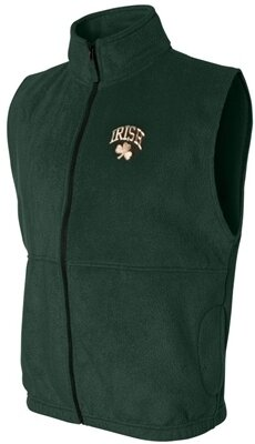 Irish Shamrock Fleece Vest - Forest Green