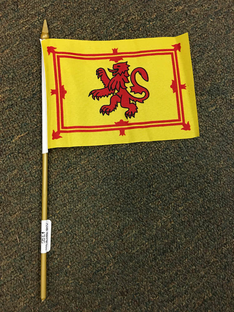 "4"" x 6"" Scottish Stick Flag (Rampant Lion)"