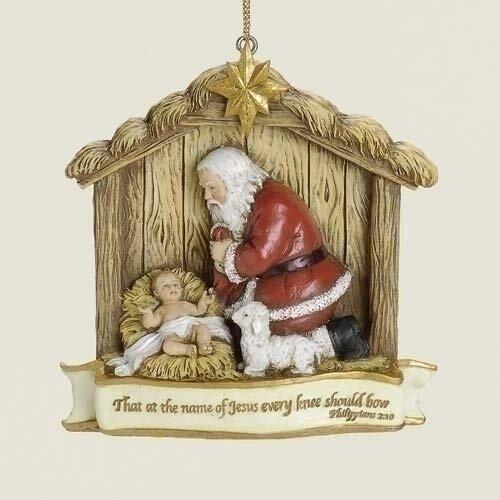 """3.5"""" Kneeling Santa Scene Ornament"""