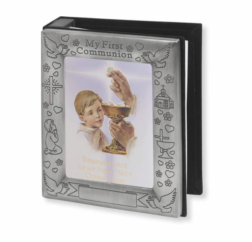 Pewter Finish Communion Boy's Photo Album