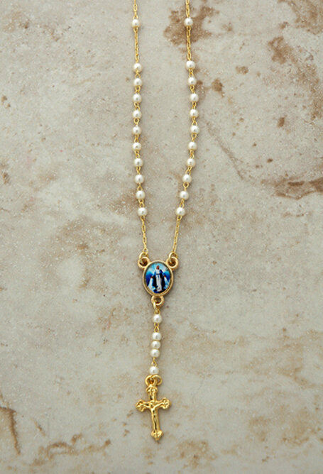 Rosary Necklace, Pearls, Gold Plated with Our Lady of Grace