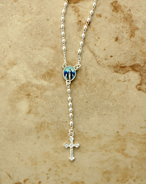 Rosary Necklace, Silver Plated with Our Lady of Grace