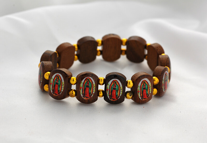 Brazilian Wood Bracelet- Brown, Gold Beads, Our Lady of Guadalupe
