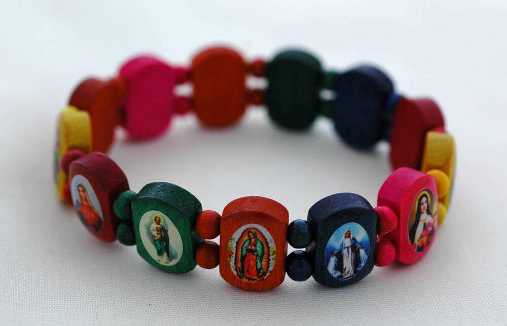Brazilian Wood Bracelet- for Adults, Various Saints, Multi-Colors