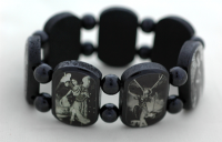 Brazilian Wood Bracelet- 7 Angels, Black and White Pictures