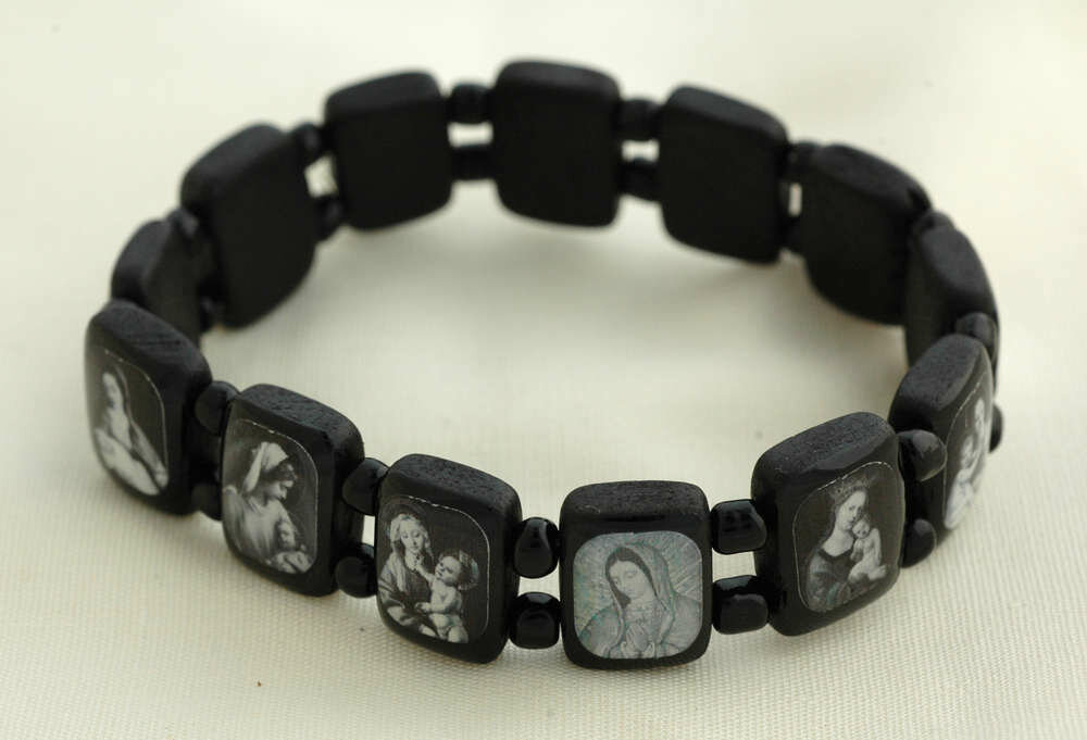 Brazilian Wood Bracelet- Various Saints, Black with Black and White Pictures