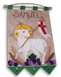 First Communion Banner Kit, 9 in. x 12 in., Lamb of God, Emerald Green