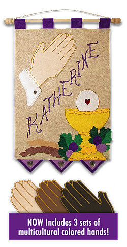 First Communion Banner Kit, 9 in. x 12 in., Praying Hands (Royal Purple accents)