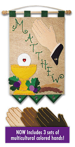 First Communion Banner Kit, 9 in. x 12 in., Praying Hands (Emerald Green accents)