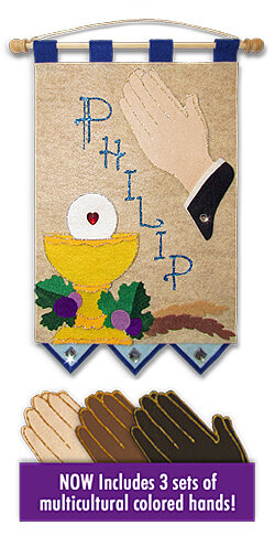 First Communion Banner Kit, 9 in. x 12 in., Praying Hands (Royal Blue accents)