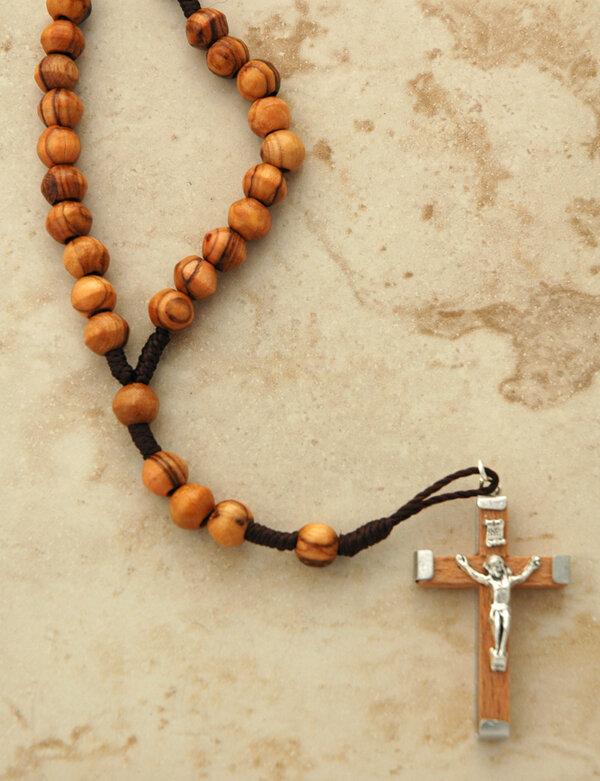 Olive Wood Rosary on Cord