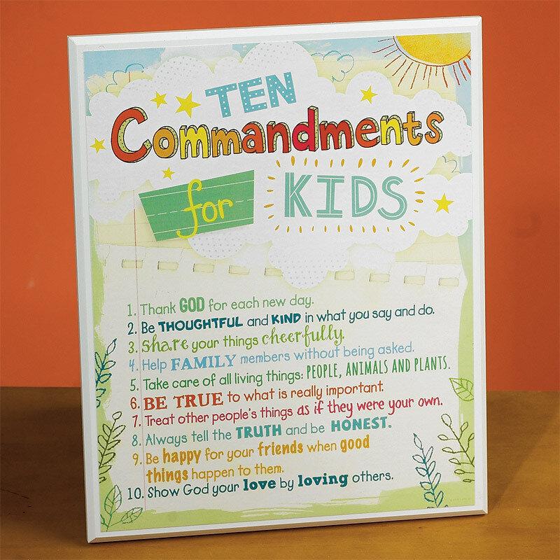 """""""Ten Commandments for Kids"""" Plaque"""