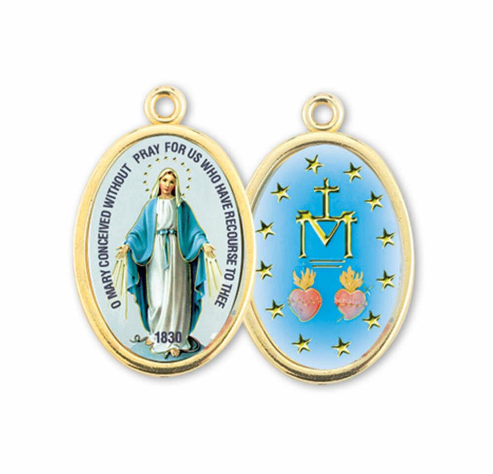 """7/8"""" Enameled Miraculous Medal"""