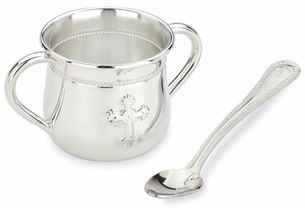 Abbey Silverplate Baby Cup and Feeding Spoon