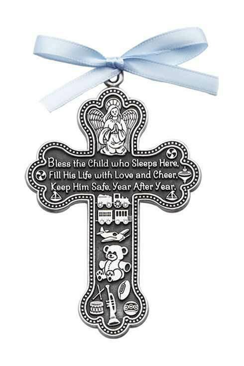 """Bless This Child Who Lives Here"" Crib Cross with Blue Ribbon"