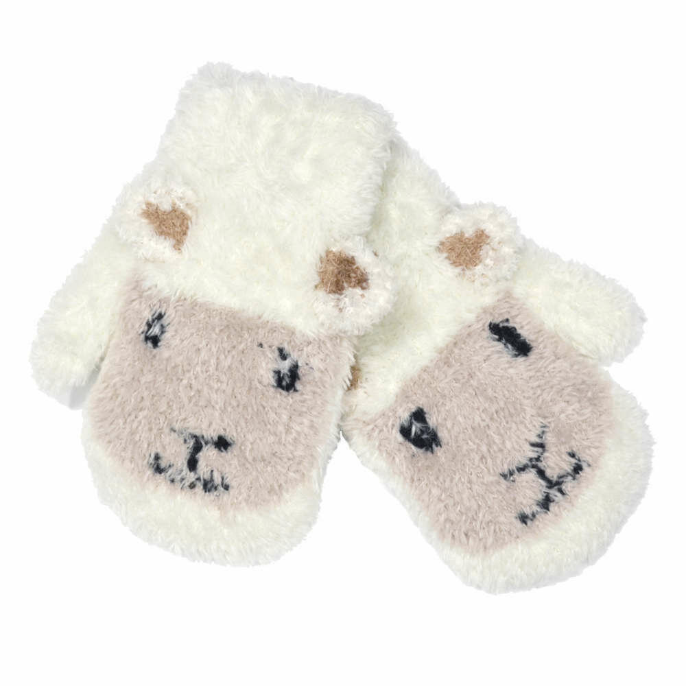 Cream Baby Sheep Mittens