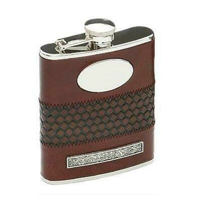 Mullingar Pewter Stainless Steel Leather Bound Flask with Pewter Design (6oz)